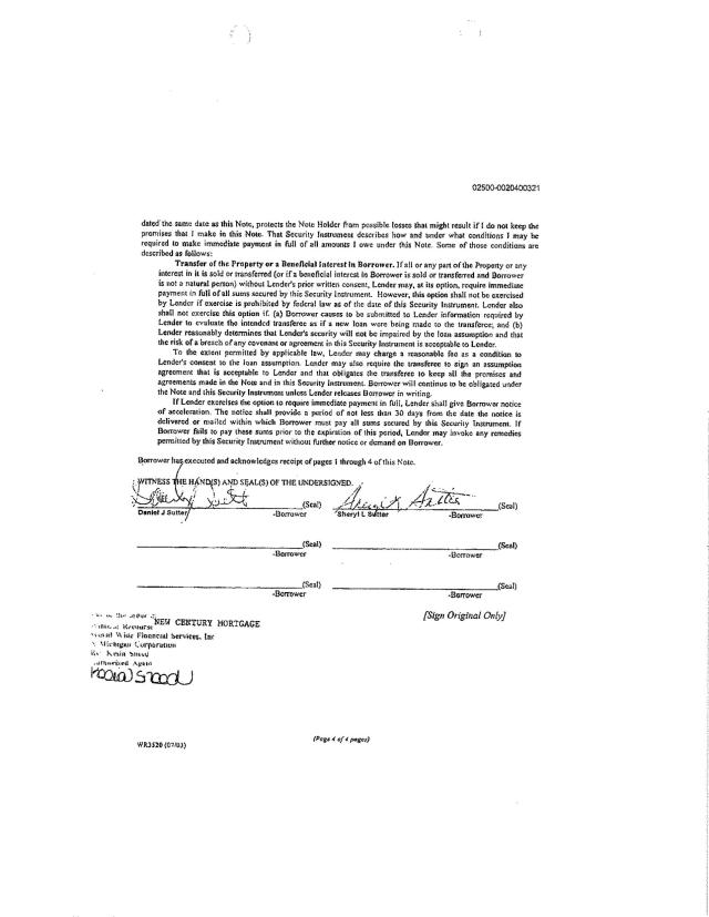 "(3) Bank's Exhibit Version of the ""Note"" presented to three federal courts between 2008-2012 - Page 4"