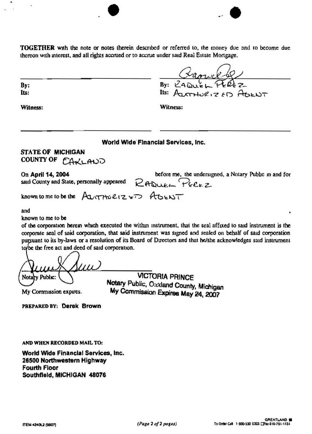 Good Assignment Sent To Our Former Attorney On 09 20 2006 (Page 2)