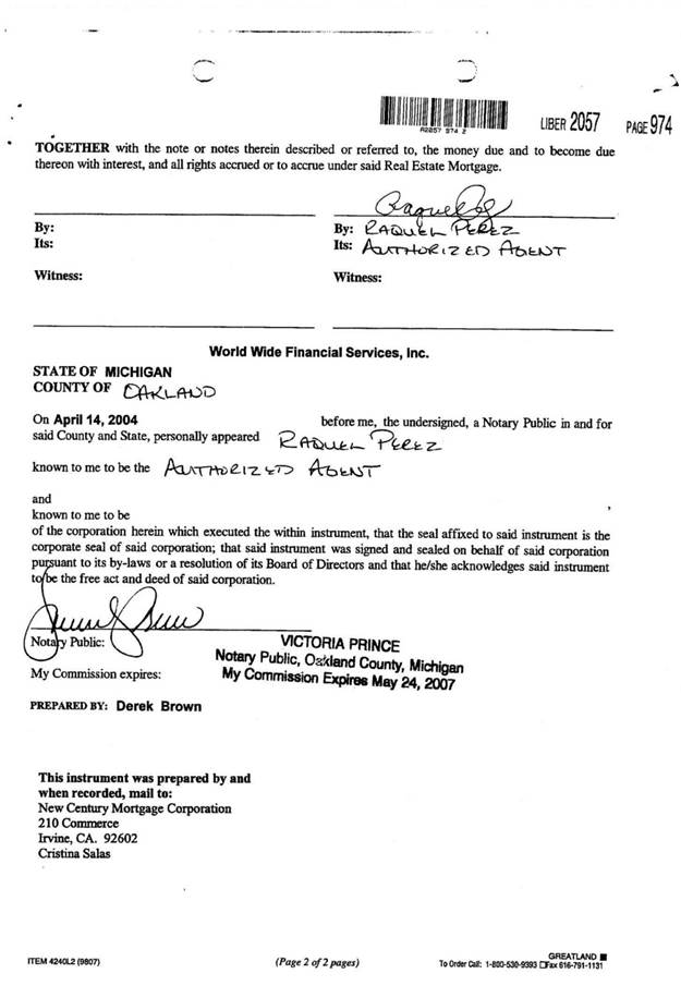 This is the recorded copy of the original assignment to New Century Mortgage (not US Bank) Page 2