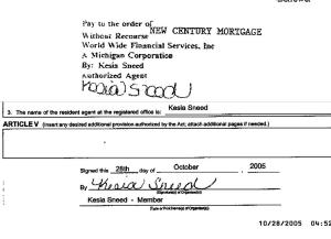 Outright Forgery of First Endorsement from Worldwide Financial to New Century Mortgage